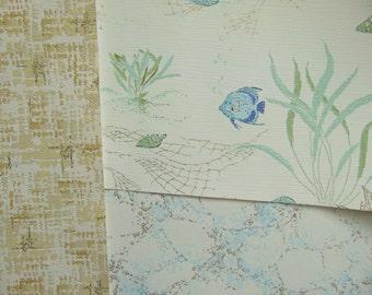 Vintage Wallpaper Bathroom Blue Fish Wall Art 3 Sheets 18 x 12, 1960s