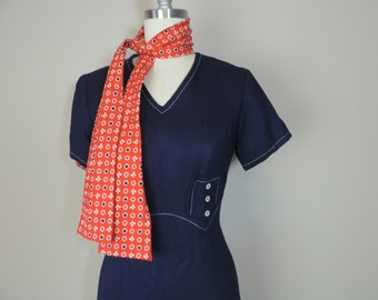 mod nautical dress 60s navy fitted sailor dress red floral scarf small