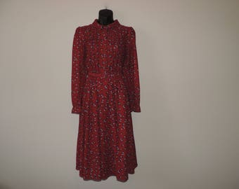 maroon floral disco dress 70s prairie floral frock medium large