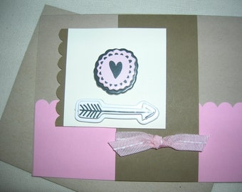 Heart and Arrow Greeting Card. Handmade Card. Valentines Day. Blank Card. Love Card. All Occasions. Seasonal Cards.