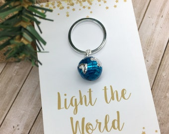 Light The World,  LDS Christmas Gifts, World Key Chain, Globe Keychain, Thank you Gift, appreciation gift, Key ring, purse charm