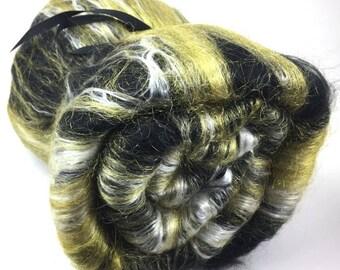 Spinning Fiber - smooth batt - alpaca, silk, firestar - Starry Night - 4 oz