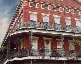 New Orleans Fine Art, Pontalba Building, French Quarter Photography, Picture, Travel Photo, Louisiana Architecture, Wrought Iron Balcony