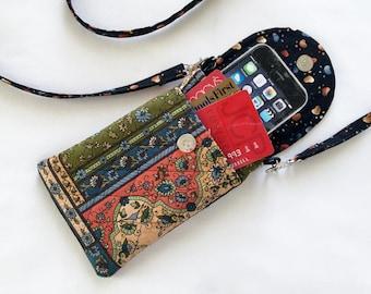 Iphone 6 Case Smart Phone Gadget Case Detachable Neck Strap Quilted Patchwork Print Earth Tones