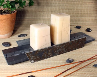 Natural Stone Candle Holder - Baked Earth on Slate