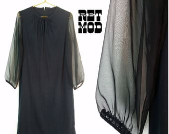 Vintage 70s Witchy Black Dress with Sheer Sleeves! Gothic Hippie!