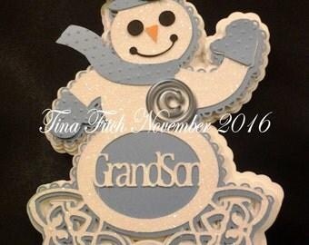 GrandSon Snowman Card, SVG,MTC,Scal,Cricut,ScanNCut,Silhouette,Cameo