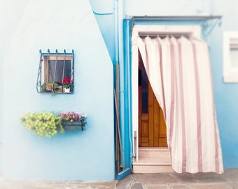 Burano Italy Print, Light Blue Wall Art, Travel Photography Decor - Landscape Photograph, Architecture Art, Artwork for Walls, Pastel Color