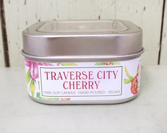 Traverse City Cherry 8 oz. Soy Candle - Green Daffodil - Handpoured - Siouxsan and Anne - C8