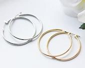 Simple Silver And Gold Hoop Titanium Earrings Modern Minimalist Nickel Free