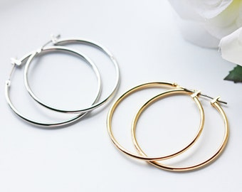 Simple Silver And Gold Hoop Titanium Earrings Modern Minimalist Nickel Free