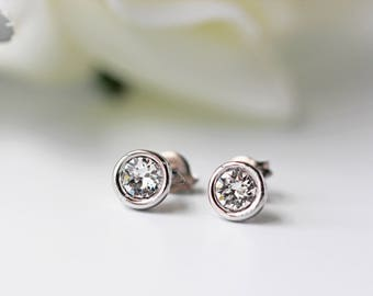 Tiny Swarovski Crystal Titanium Studs Silver Clear Crystal Simple Dainty Everyday