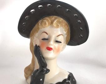 Vintage Napco Japan Lady Head Vase//Black Hat and Dress
