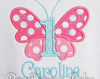 Birthday Shirt, Butterfly Birthday Shirt or Bodysuit, Personalized Embroidered Birthday Shirt, Custom, Any Age, Any Colors