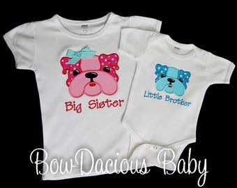 Brother Sister Shirts, Matching Sibling Shirt Set of 2, Big Sister, Little Brother, Bulldog, Pregnancy Announcement, Shirt or Bodysuit