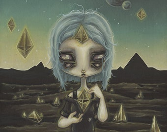 Cosmic Witch Alien crystal moldavite -Lowbrow pop surreal print painting