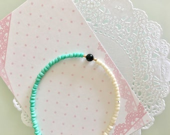 mint pastel seed bead friendship bracelet boho summer bracelet 10 and under