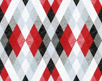 Windham - Starlight - Argyle - Red Fabric by select cut or yard 41594-2