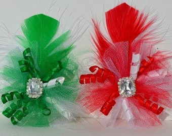 Dog Hair Bow Christmas Fascinator - Red or Green