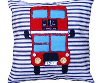 Red London bus pillow cushion.