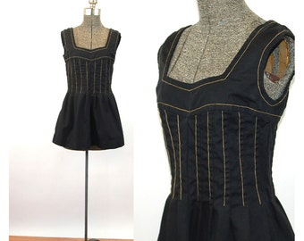 1970s smock top mini dress black gold corset top summer dress Size S