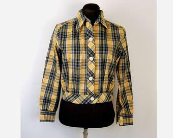 1970s blouse jacket plaid black yellow nubby Laura Mae Size M/L