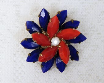 Vintage Patriotic Flower Brooch   Red White and Blue    Free ship in USA