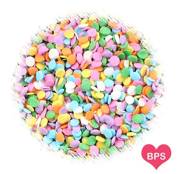Mini pastel rainbow polka dot sprinkles mini confetti dot for Decorating quins