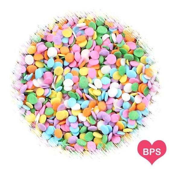 Mini pastel rainbow polka dot sprinkles mini confetti dot for Decorating quins