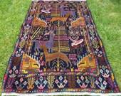 "Hunting Carpet Rug  Deer 6 ft 2"" x 4 ft . Woven Kilim/Tapis. 188 x 122 cm. Traditional."