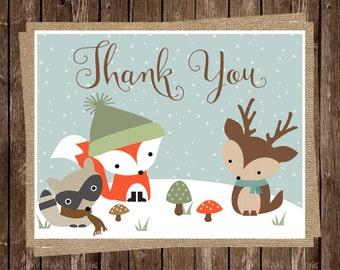Baby Shower Thank You Cards, Burlap, Woodland, Forest Animals, Fox, Raccoon, Deer, Birthday, Gender Neutral, Winter, 24 Printed Cards