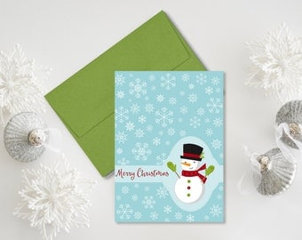 Snowman Christmas Cards, Happy Holidays, Blue, Red, Green, Customizable, Snowflakes, Set of 12 Printed Cards, FREE Shipping, Let It Snow