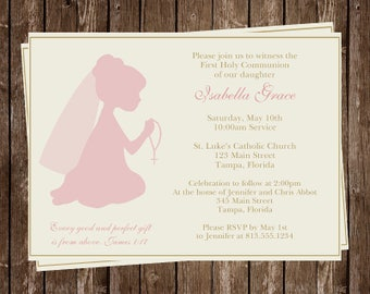 Religious, Invitations, Christening, First Communion, Pink, Ivory, Girls, Set of 10 Invites With Envelopes, Kneeling, Prayer, Rosary, Girl
