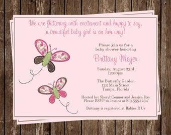 Butterfly, Baby Shower Invitations, Girl, Pink, Green, Spring, Floral, Botanical, Kisses, Sprinkle, 10 Printed Invites, FREE Shipping, BKSPK