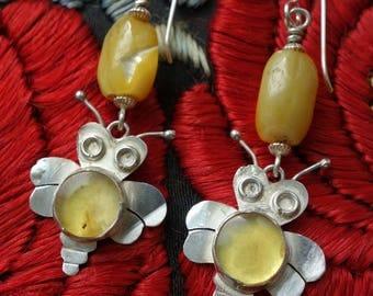 Bumble Bee Handmade Earrings Sterling Amber
