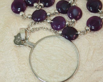 Vintage Monocle Style Lens, Magnifying Pendant  diopter +3.25 Dyed Aventurine Disc Beaded Necklace