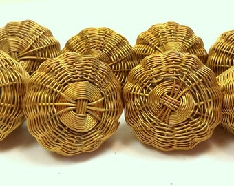 Antique Brass Woven Knobs Set of 8