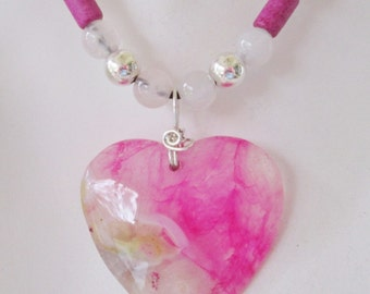 Pink Gemstone Heart Necklace Beaded Leather Rose Quartz Sterling Silver Valentines adjustable Sale