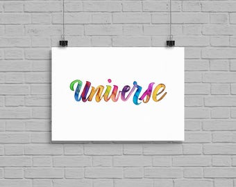 "5"" x 7"" Universe Watercolor Print Calligraphy Custom Type Made To Order"
