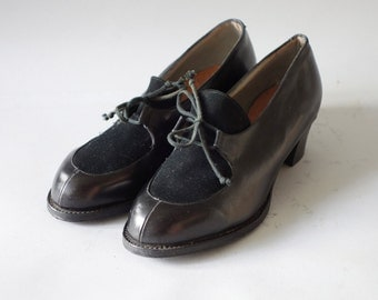Black velvet leather heels   Laced up brogues   1930 by cubevintage   size 36