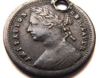 RARE 1800's BRITISH Victoria struck half penny denomination Bronze small CHARM
