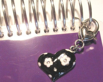 Purse or Planner charm black and white enamel heart with heart lobster clasp tibetan silver travelers notebook TN Midori Erin Condren