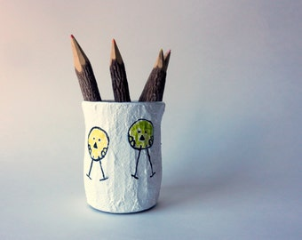 Pencil holder / whimsical birds pen cup / little birdies / ooak