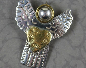 Vintage Etched Sterling Silver and Brass Heart Angel Brooch and Pendant
