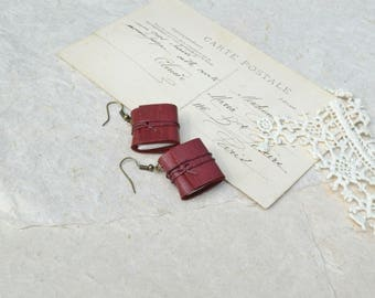 Dark Red Leather Book Earrings
