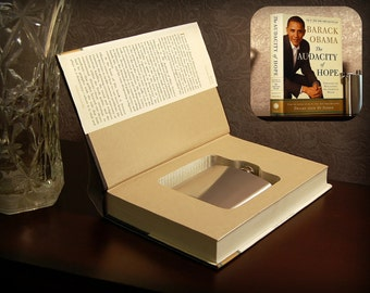 Hollow Book Safe & Flask - The Audacity of Hope by Barack Obama - Secret Book Safe