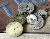 Antique Pocket Watch Parts Movements Gears Clock Face