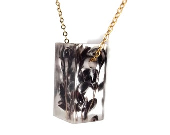 """Resin Bar Necklace with Black Sorghum 1"""".  Resin Jewelry with Real Pressed Flowers - Resin Jewelry.  Handmade Jewelry. Sterling.  Gold."""