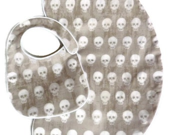 Gray and White Baby Skulls Baby Bib and Burp Cloth Set