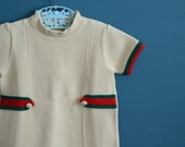 Vintage Toddler Girl's Off-White Knit Mini Dress - Size 2T